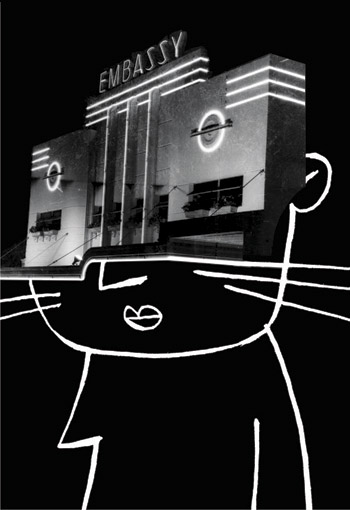 Collage with cinema entrance as the face of a cat - humorous line drawing illustration by Michel Streich