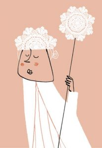 Ice queen with sceptre - humorous line drawing illustration by Michel Streich