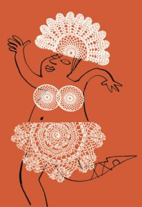Person dressed in doilies dancing - humorous line drawing illustration by Michel Streich