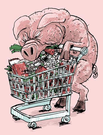Pig gorging himself from a full supermarket trolley - humorous line drawing by Michel Streich