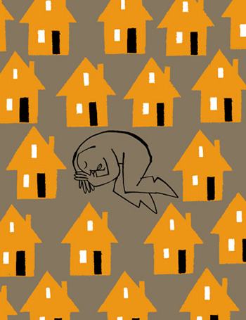 Illustration of a man sleeping on the ground surrounded by houses - line drawing by Michel Streich
