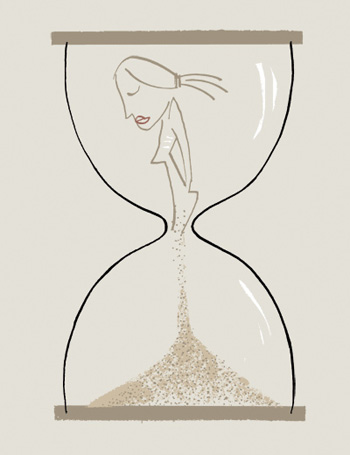 Line drawing illustration of a girl in the top of an hourglass slowly dribbling into the bottom of the hourglass - by Michel Streich