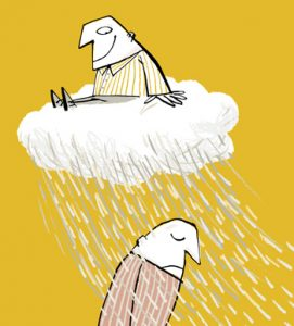 Illustration of a happy man sitting on a cloud which rains on an unhappy man - humorous line drawing by Michel Streich