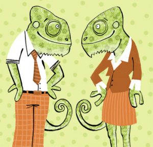 Illustration of two chameleons in clothes facing each other - humorous line drawing by Michel Streich