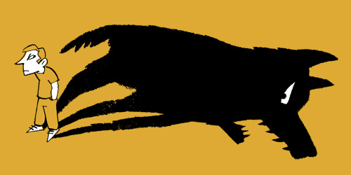 Illustration of a man whose shadow forms a dangerous looking black dog - humorous line drawing by Michel Streich