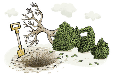Illustration of an uprooted shrub in the shape of a woman - humorous line drawing by Michel Streich