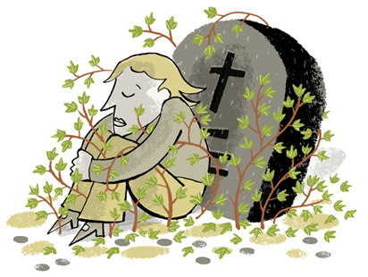 Illustration of a woman sitting by a gravestone, both the grave and the woman are overgrown by ivy - humorous line drawing by Michel Streich