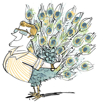 Illustration of a peacock with the upper body of a man - humorous line drawing by Michel Streich
