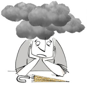 Illustration of a man with dark clouds over his head, looking at a folded umbrella - humorous line drawing by Michel Streich