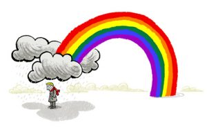 Illustration of a young man standing under a rain cloud, out of which a rainbow emerges - humorous line drawing by Michel Streich
