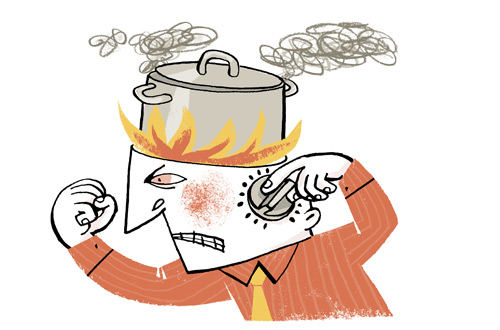 Illustration of a man with flames coming out of his head and a cooking pot on top, regulating flames with a dial - humorous line drawing by Michel Streich