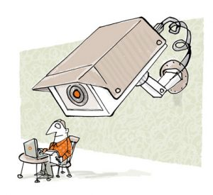 Illustration of a massive CCTV camera filming a man using his laptop - humorous line drawing by Michel Streich