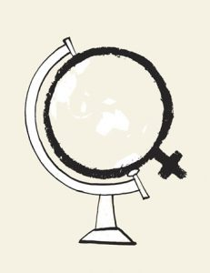 "Illustration of a ""female"" symbol in the shape of a world globe - humorous line drawing by Michel Streich"