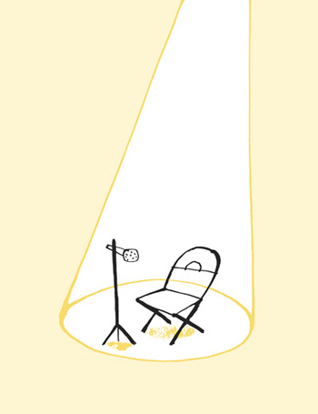 Illustration of a spotlight lighting up an empty chair and microphone on an stage - humorous line drawing by Michel Streich