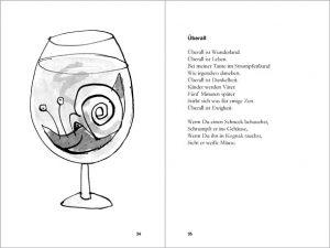 illustration snail in cognac glass