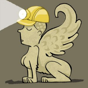 Illustration of a Babylonian Lamassu statue wearing a hardhat with miner's lamp - humorous line drawing by Michel Streich