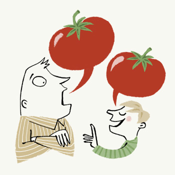 "Illustration of a father and sun talking, with two tomatoes as speech bubbles: ""You say tomato..."" - humorous line drawing by Michel Streich"