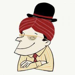 Smiling man with sungalasses wearing an Indian turban and an English bowler hat - humorous line drawing by Michel Streich