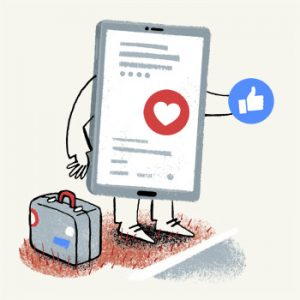 """Illustration of a smartphone, using a thimbs up """"like"""" icon to hitchhike - humorous line drawing by Michel Streich"""