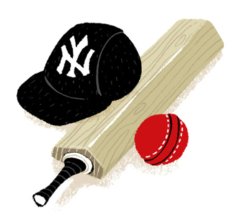 Illustration of cricket bat and ball next to a NY Yankees baseball cap - humorous line drawing by Michel Streich