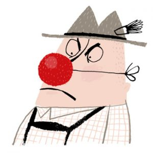 Illustration of a man in traditional Bavarian outfit, wearing a clown nose - humorous line drawing by Michel Streich