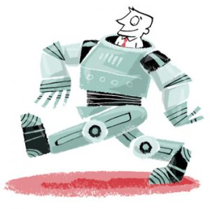 Illustration of a robot striding along, with a man looking out the top - humorous line drawing by Michel Streich
