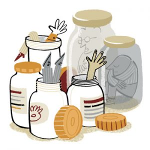 Illustration of peaople stuffed into little glass jars and plastic containers - humorous line drawing by Michel Streich