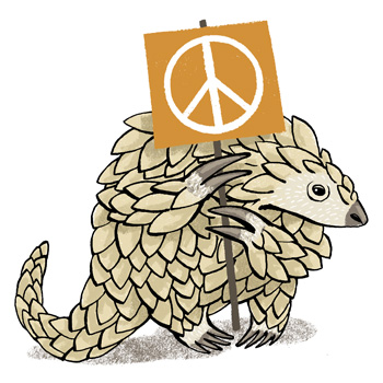 Illustration of a Vietnamese pangolin holding a peace sign - humorous line drawing by Michel Streich