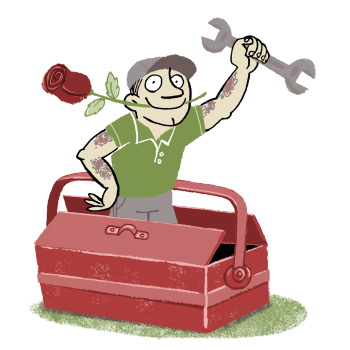 Illustration of a tattooed handyman with tools emerging from a toolbox, a rose bewteen his teeth - humorous line drawing by Michel Streich