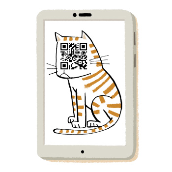 Illustration of a smartphone with a cat on the screen; tha cat's face is a QR code - humorous line drawing by Michel Streich