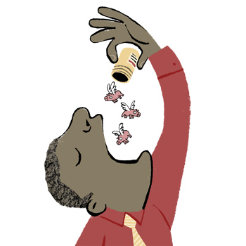 Illustration of a man popping pills in the shapes of flying pigs - humorous line drawing by Michel Streich