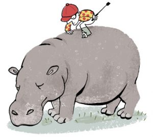 Illustration of a jockey trying to whip a hippo to run - humorous line drawing by Michel Streich
