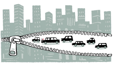 Illustration of a city which opens with a zip for a motorcade - humorous line drawing by Michel Streich