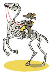 Illustration of Napoleon riding the skeleton of his horse Marengo - humorous line drawing by Michel Streich