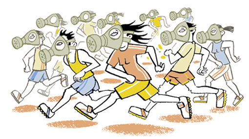 Illustration of a group of marathon runners wearing gas masks - humorous line drawing by Michel Streich