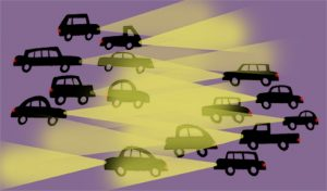 Cars with headlights - illustration by Michel Streich