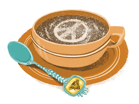 Illustration of a cup of coffee with a peace sign as coffee art - humorous line drawing by Michel Streich