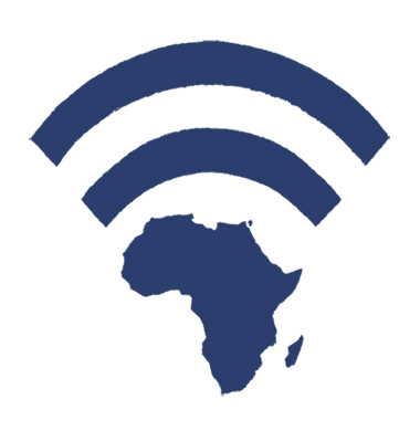 Illustration a WiFi symbol made out of a map of Africa - humorous line drawing by Michel Streich